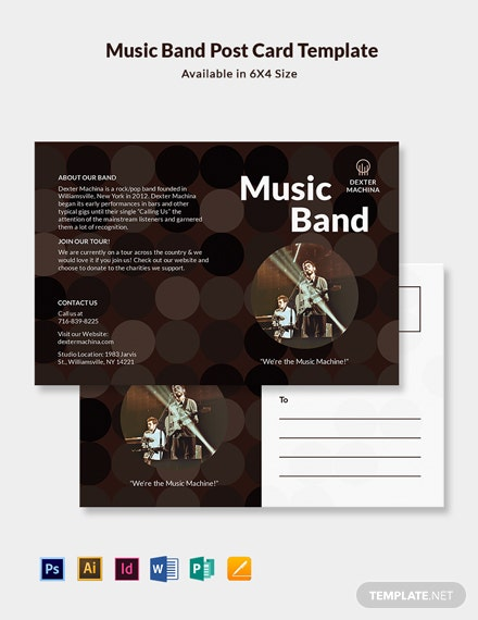 Music Band Postcard Template