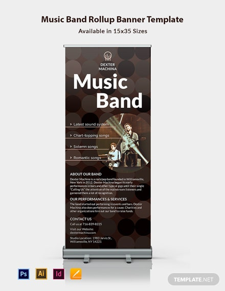 Music Band Roll Up Banner Template