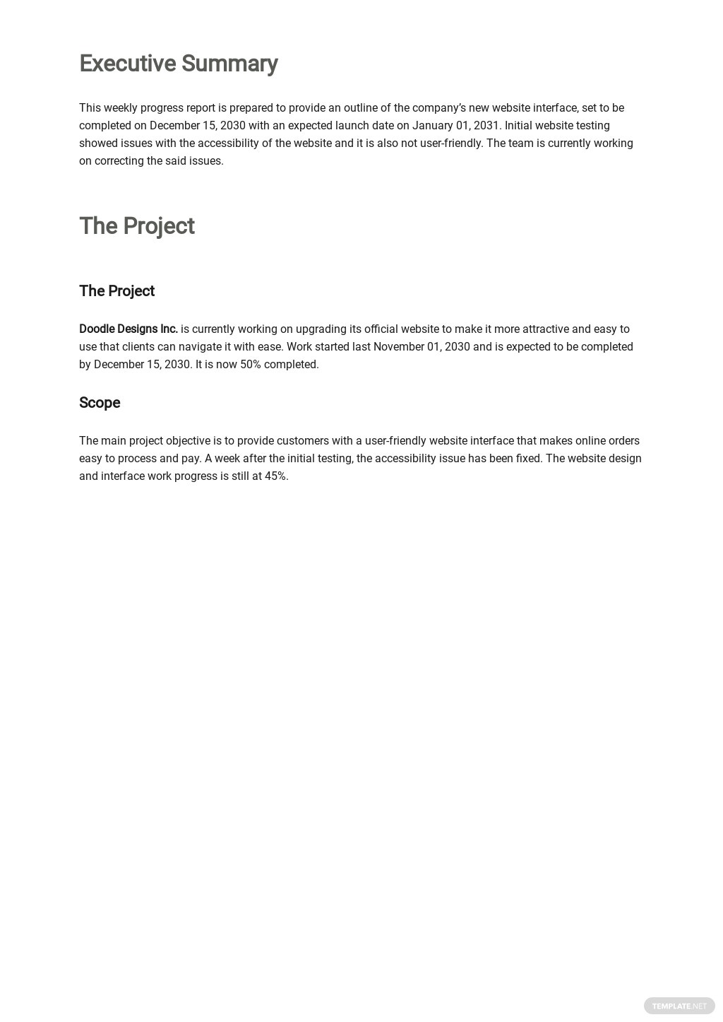 Free Weekly Work Progress Report Template 1.jpe