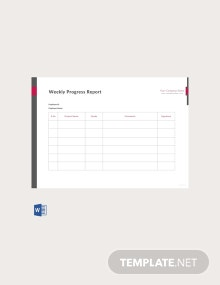 Free Weekly Work Progress Report Template