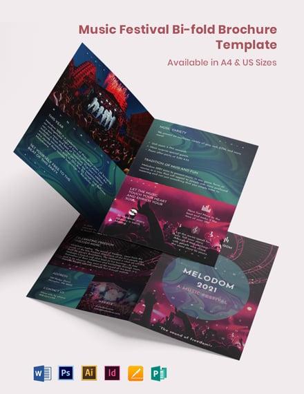 Music Festival Bi-Fold Brochure Template