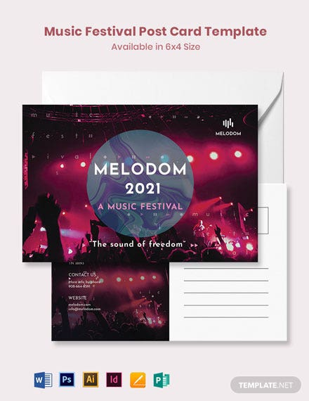 Music Festival Postcard Template