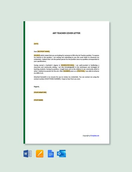 Free Art Teacher Cover Letter Template