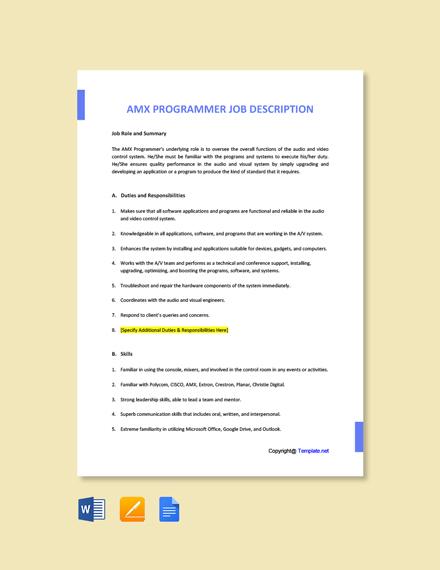 Free AMX Programmer Job Ad and Description Template