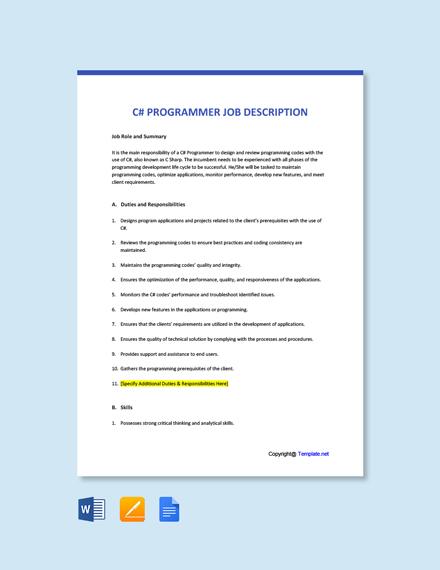 Free C# Programmer Job Ad/Description Template