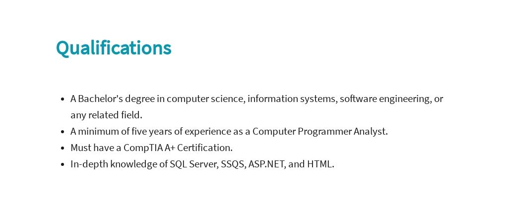Free Computer Programmer Analyst Job Ad/Description Template 5.jpe
