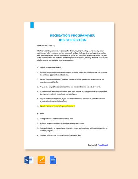 Free Recreation Programmer Job Ad/Description Template