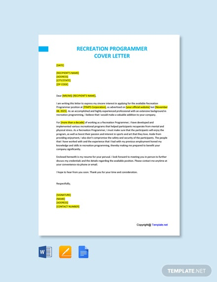 Free Recreation Programmer Cover Letter Template