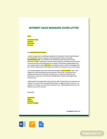Free Internet Sales Manager Cover Letter Template