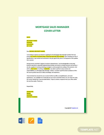 Free Mortgage Sales Manager Cover Letter Template