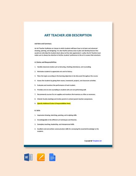 Free Art Teacher Job Ad/Description Template