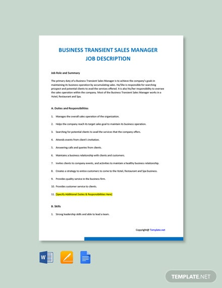 Free Business Transient Sales Manager Job Ad/Description Template