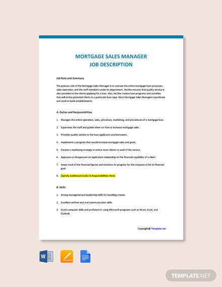 Free Mortgage Sales Manager Job Ad/Description Template