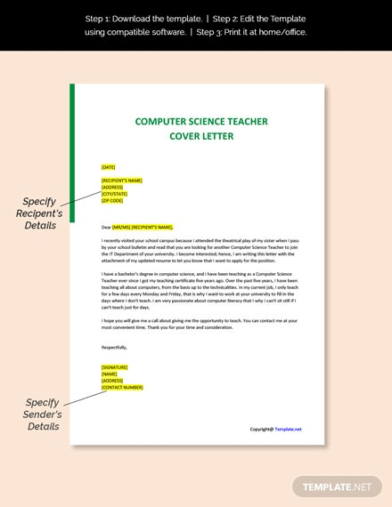 Computer Science Teacher Cover Letter Template
