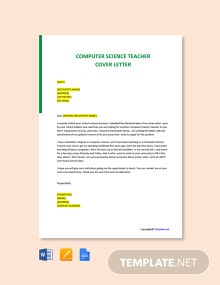 Free Computer Science Teacher Cover Letter Template