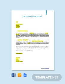 Free QA Tester Cover Letter Template