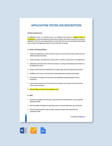 Free Application Tester Job Description Template