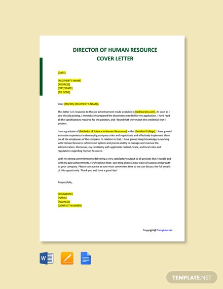 Free Director of Human Resources Cover Letter Template