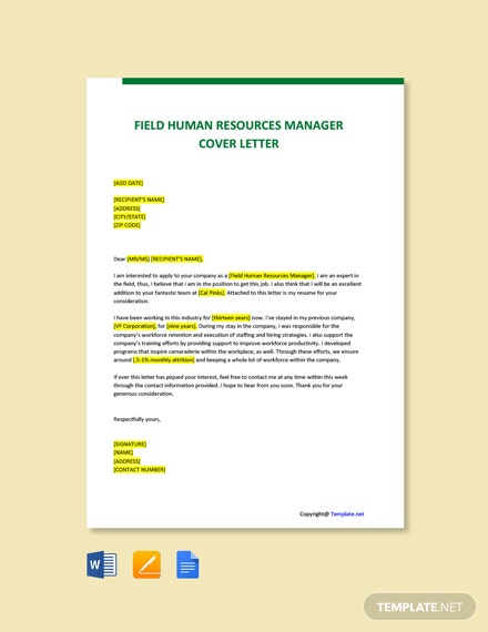 Free Field Human Resources Manager Cover Letter Template