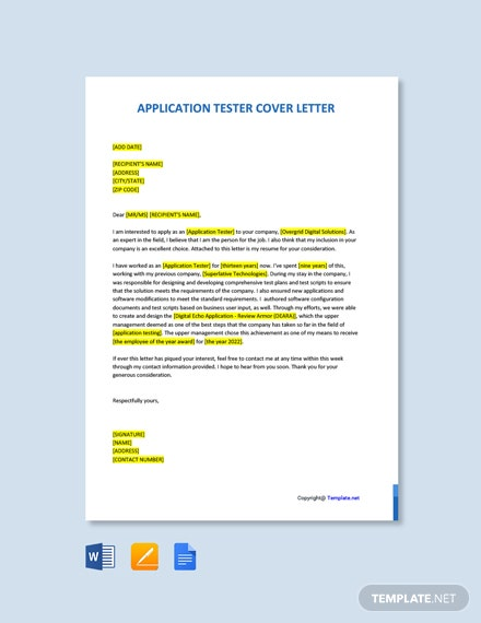Application Tester Cover Letter