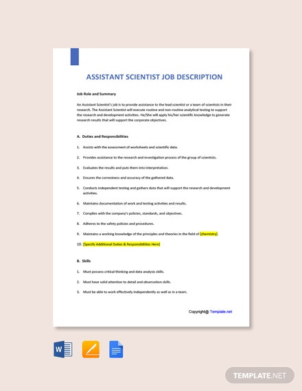 Free Assistant Scientist Job Ad and Description Template