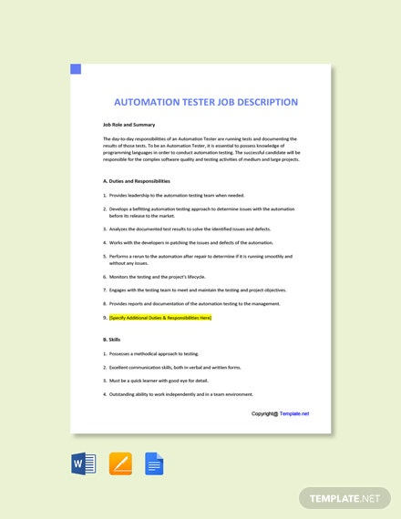 Free Automation Tester Job Description Template
