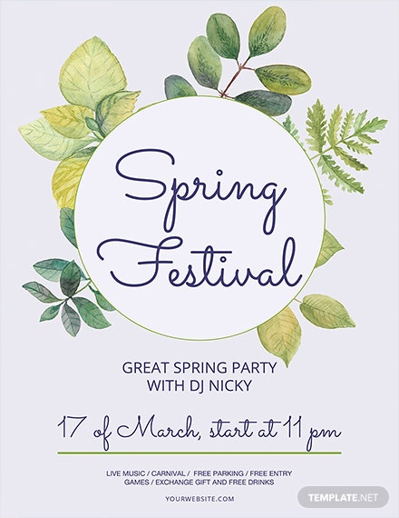 spring festival flyer template 1x