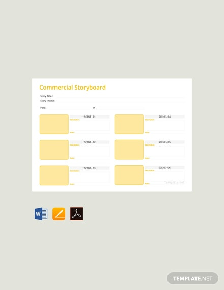 Free Commercial Storyboard Template