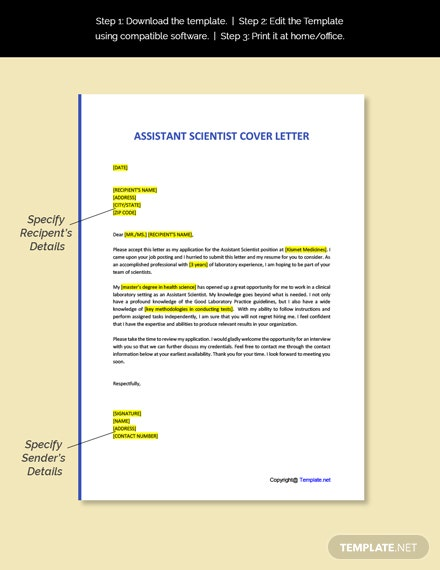 Assistant Scientist Cover Letter Template