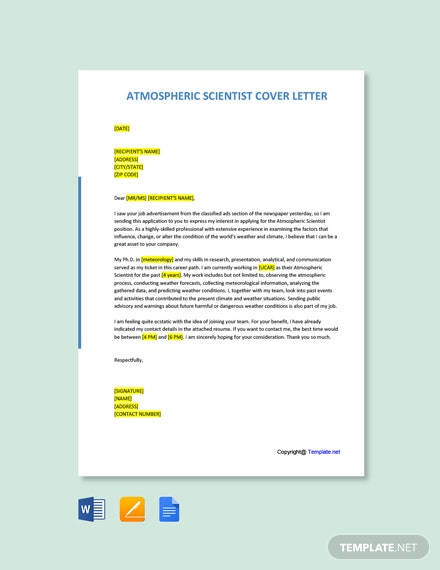Free Atmospheric Scientist Cover Letter Template