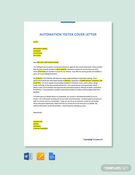 Free Automation Tester Cover Letter Template