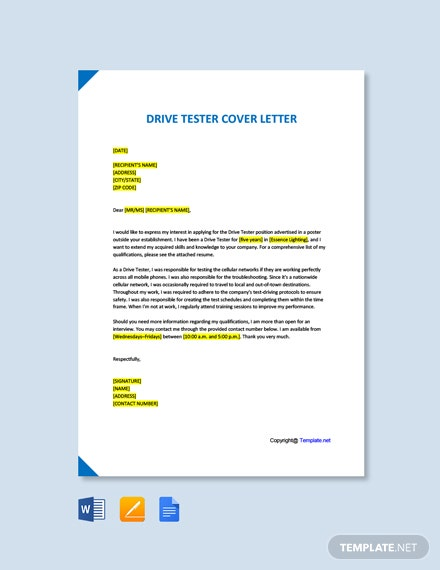 Free Drive Tester Cover Letter Template