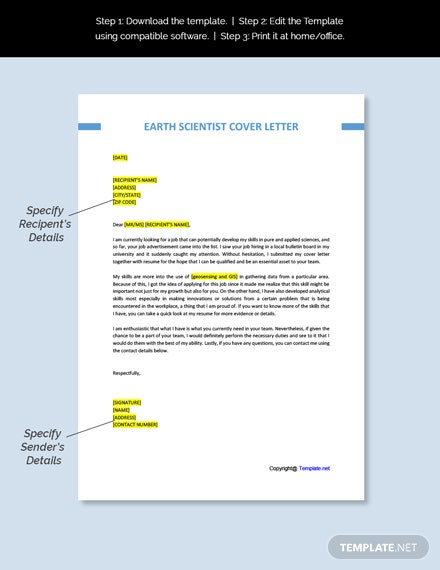 Earth Scientist Cover Letter Template