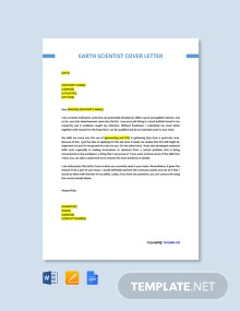 Free Earth Scientist Cover Letter Template