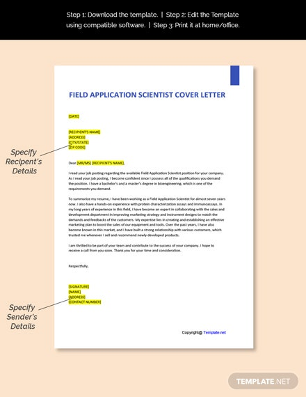 Field Application Scientist Cover Letter Template