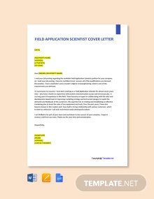Free Field Application Scientist Cover Letter Template