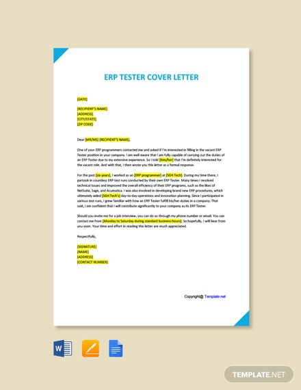 Free ERP Tester Cover Letter Template