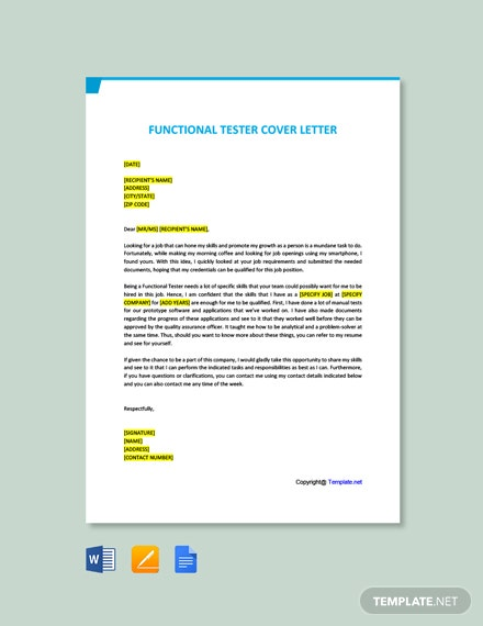 Free Functional Tester Cover Letter Template