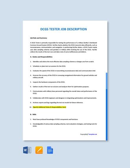 Free DCGS Tester Job Description Template