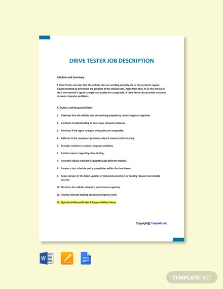 Free Drive Tester Job Description Template
