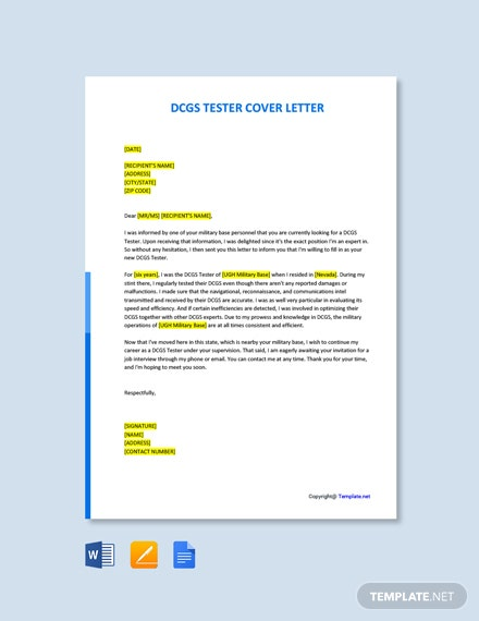 Free DCGS Tester Cover Letter Template
