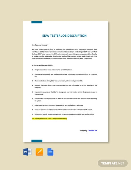 Free EDW Tester Job Description Template