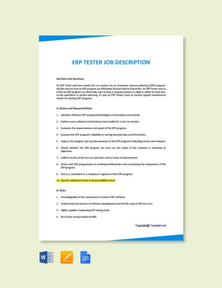 Free ERP Tester Job Description Template
