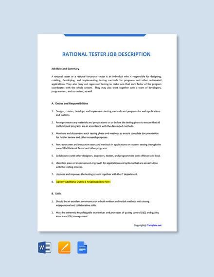 Free Rational Tester Job Description Template