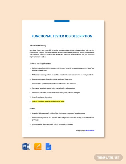 Free Functional Tester Job Description Template
