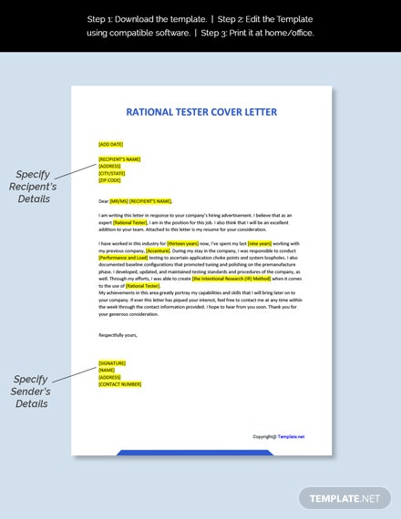 Free Rational Tester Cover Letter Template