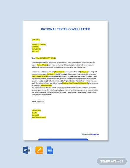Free Rational Tester Cover Letter