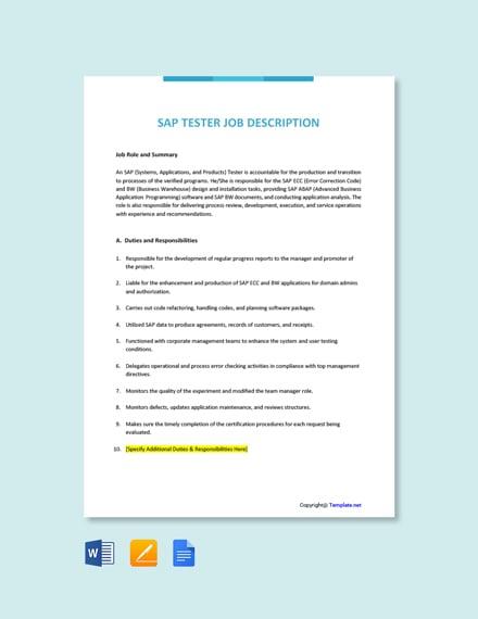 Free SAP Tester Job Ad/Description Template