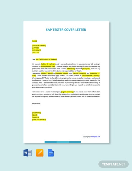 Free SAP Tester Cover Letter Template