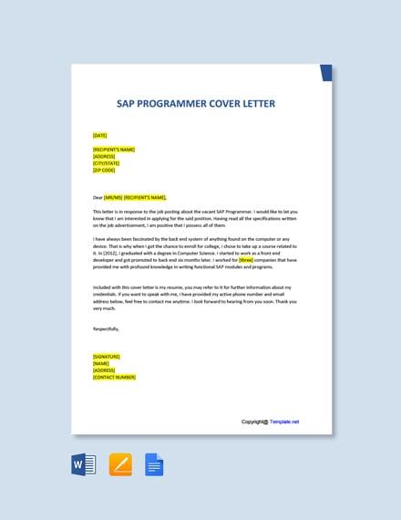 Free SAP Programmer Cover Letter Template